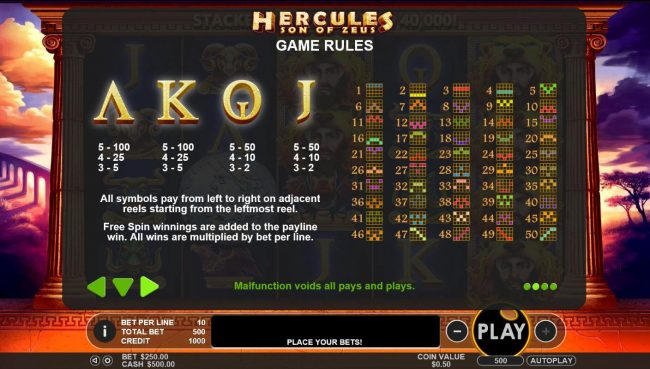 Hercules Son of Zeus :: Low value game symbols paytable and payline diagrams 1 to 50.