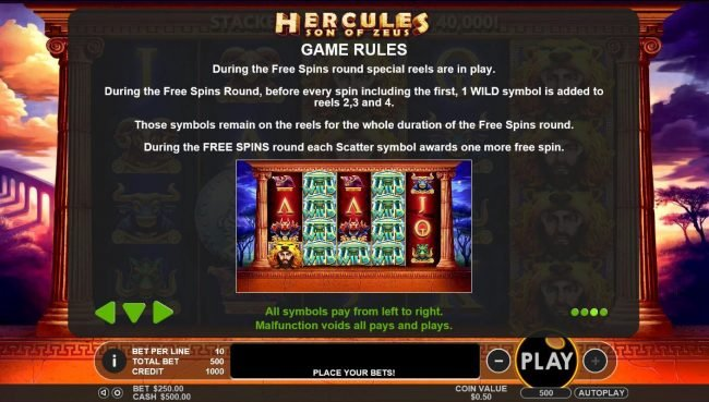 Winward featuring the Video Slots Hercules Son of Zeus with a maximum payout of $200,000