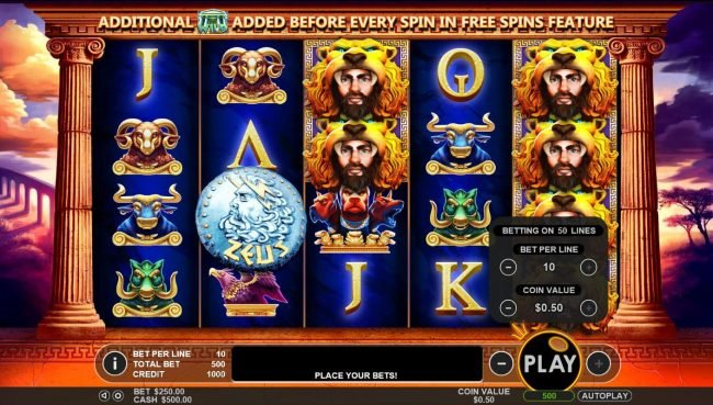 Hercules Son of Zeus :: Click on the plus or minus buttons next to the play button to adjust the coin value and/or bet per line level.