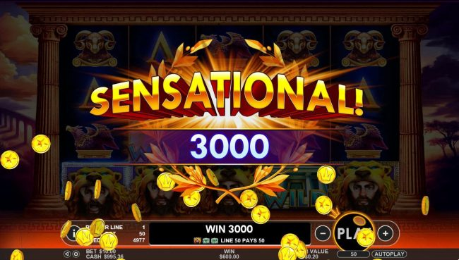 Hercules Son of Zeus :: A 3000 coin sensational win triggered by multiple winning combinations.