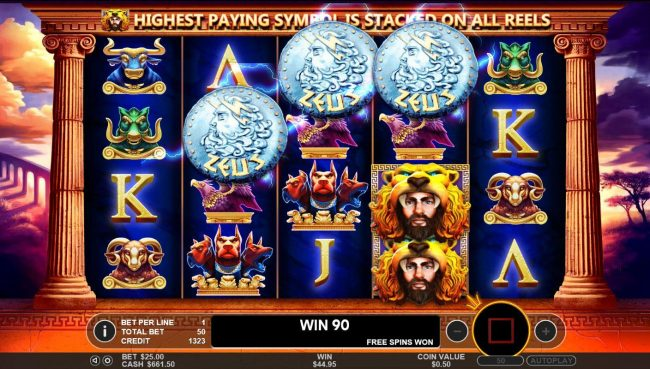 Hercules Son of Zeus :: Landing Zeus symbols anywhere on reels 2, 3 and 4 activates the Free Spins bonus round.