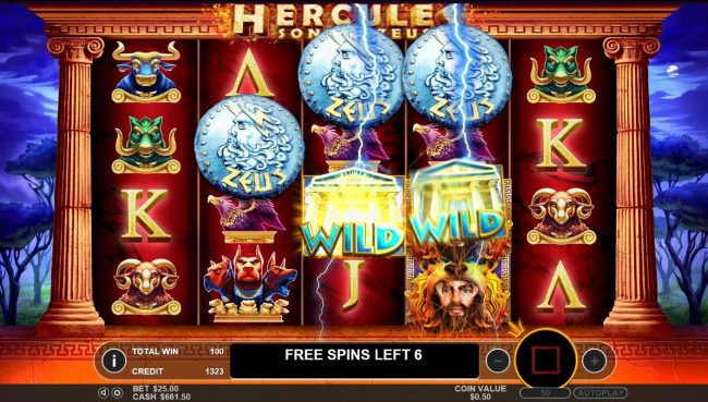 Hercules Son of Zeus :: Before the start of every Free Spin 1 additional wild symbol is added to reels 2, 3 and 4.