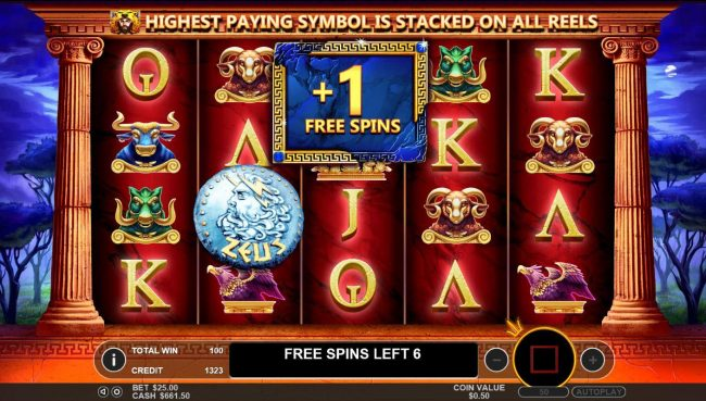 Hercules Son of Zeus :: Landing a Zeus symbol on reels 2, 3 and 4 during the Free Spins round awards 1 addtional Free Spin.