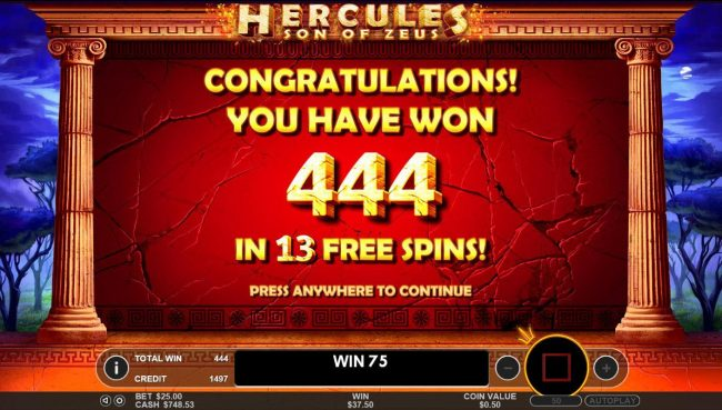 Hercules Son of Zeus :: The Free Spins feature pays out a total of 444 coin for 13 free spins.