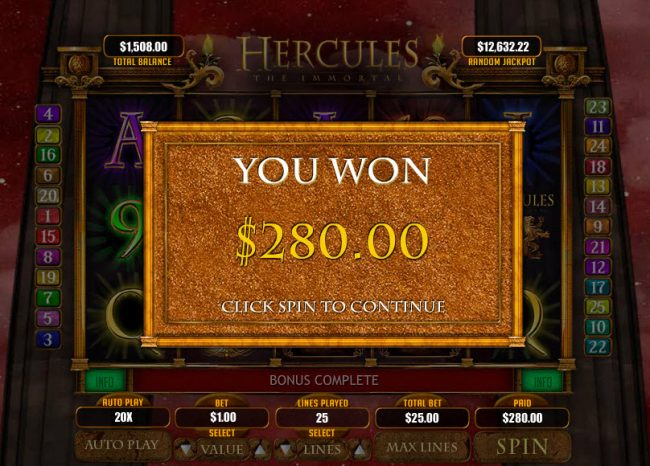 Hercules the Immortal :: Total Free Spins Payout
