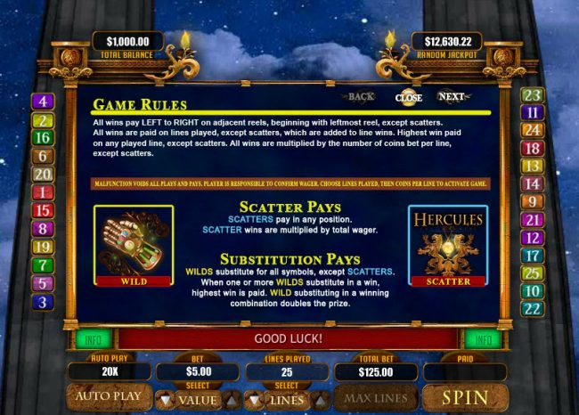 Lucky Red featuring the Video Slots Hercules the Immortal with a maximum payout of $20,000