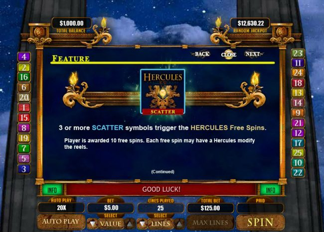 Slots of Vegas featuring the Video Slots Hercules the Immortal with a maximum payout of $20,000