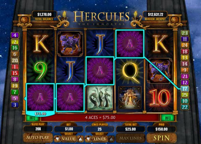 Slots LV featuring the Video Slots Hercules the Immortal with a maximum payout of $20,000