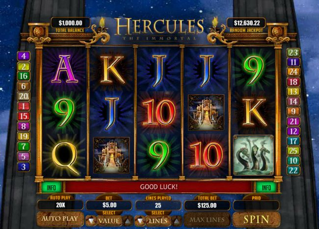 Kudos featuring the Video Slots Hercules the Immortal with a maximum payout of $20,000