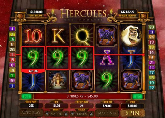 Diamond Reels featuring the Video Slots Hercules the Immortal with a maximum payout of $20,000