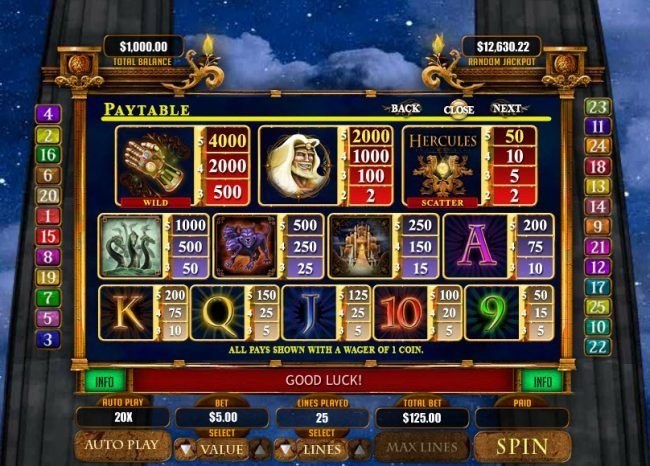 Wild Joker featuring the Video Slots Hercules the Immortal with a maximum payout of $20,000