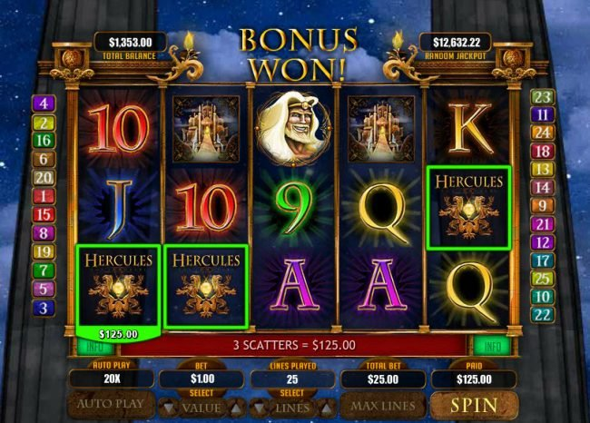 Cherry Gold featuring the Video Slots Hercules the Immortal with a maximum payout of $20,000