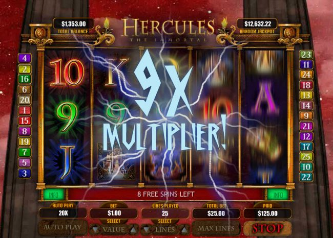 Royal Ace featuring the Video Slots Hercules the Immortal with a maximum payout of $20,000