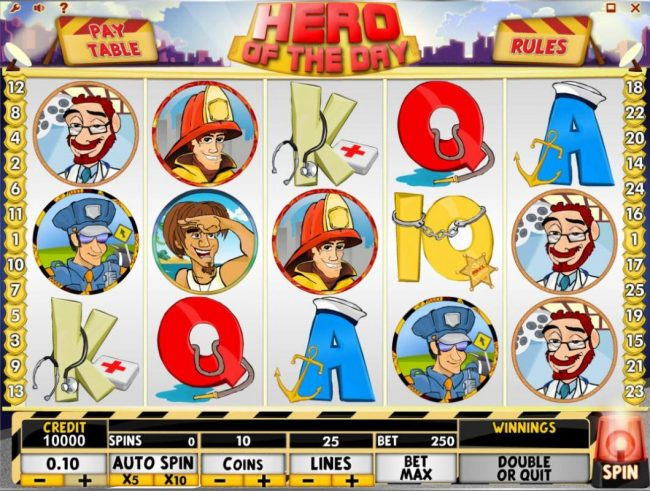 Videoslots featuring the Video Slots Hero of the Day with a maximum payout of $50,000