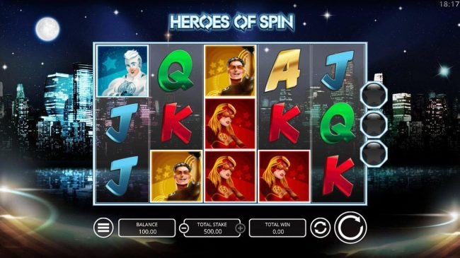Slots Angel featuring the Video Slots Heroes of Spin with a maximum payout of $4,000
