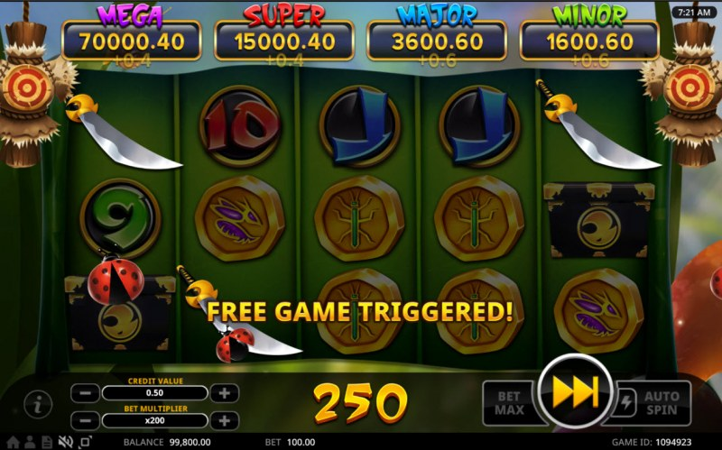 Hachi's Quest of Heroes :: Scatter symbols triggers the free spins bonus feature