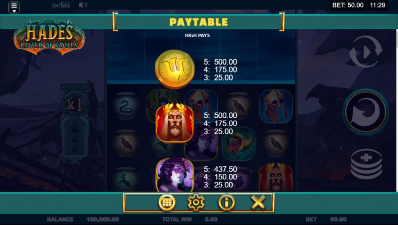Hades River of Souls :: Paytable - High Value Symbols