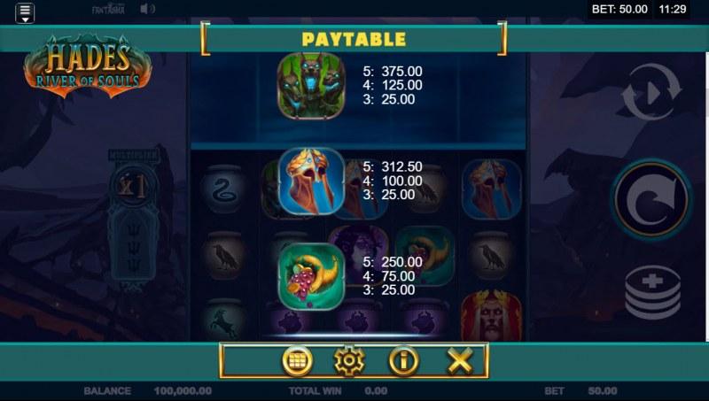 Hades River of Souls :: Paytable - Medium Value Symbols