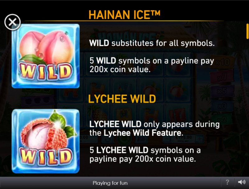 Hainan Ice :: Wild Symbol Rules