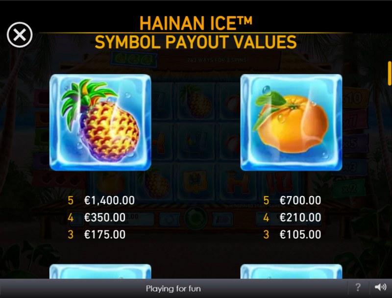 Hainan Ice :: Paytable - High Value Symbols