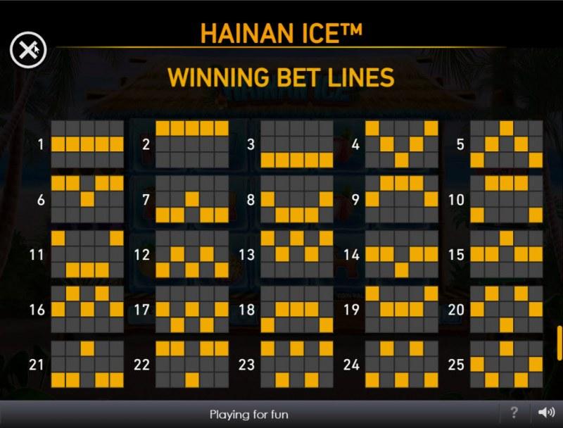 Hainan Ice :: Paylines 1-25