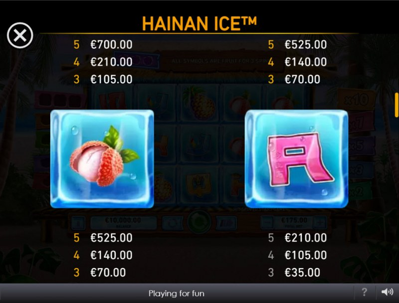 Hainan Ice :: Paytable - Low Value Symbols