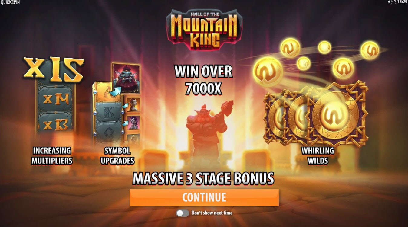 Play slots at BGO Vegas: BGO Vegas featuring the Video Slots Hall of the Mountain King with a maximum payout of $732,600