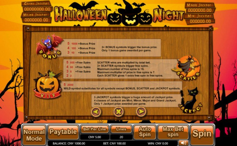 Halloween Night :: Bonus, Jackpot, Scatter and Wild Rules