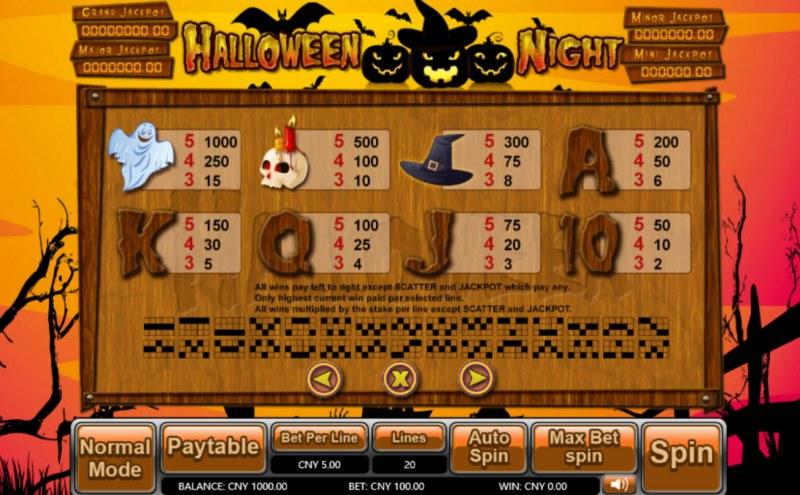 Halloween Night :: Paytable