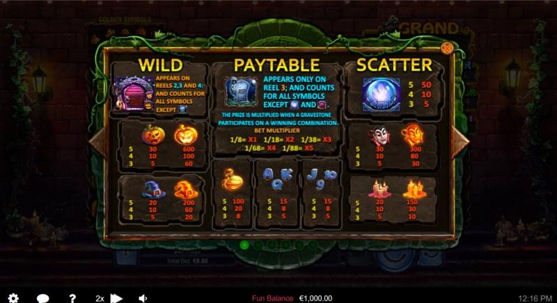 Halloween Treasures :: Paytable