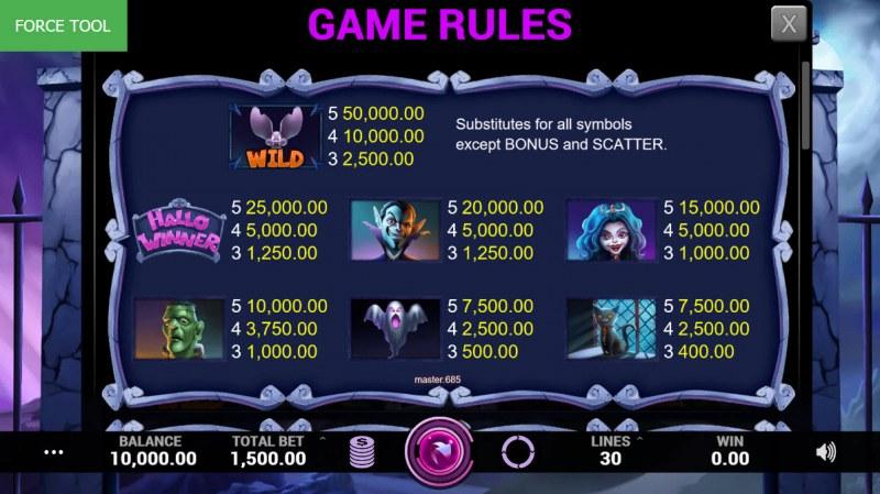 Hallowinner :: Paytable - High Value Symbols