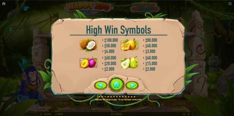 Happy Ape :: Paytable - High Value Symbols