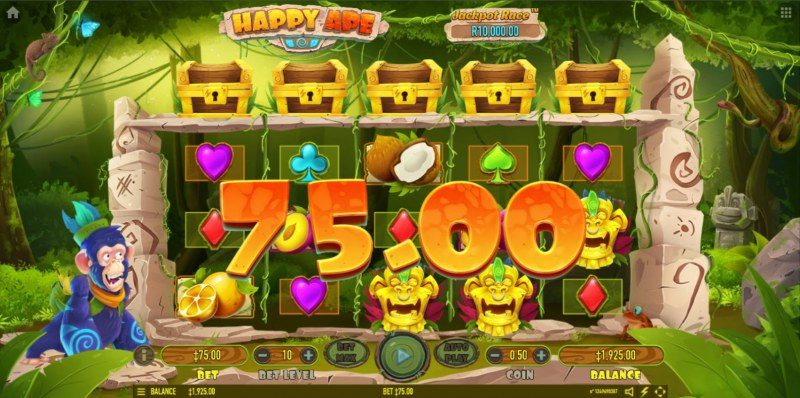 Happy Ape :: Scatter symbols triggers the free spins bonus feature