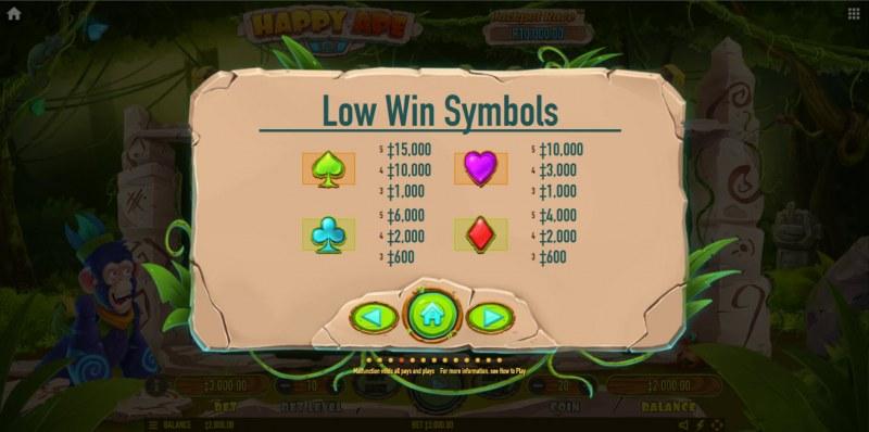 Happy Ape :: Paytable - Low Value Symbols