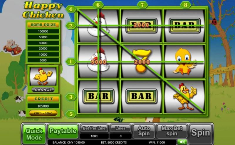 Happy Chicken :: Multiple winning paylines