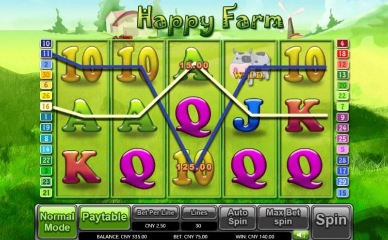 Happy Farm :: Multiple winning paylines