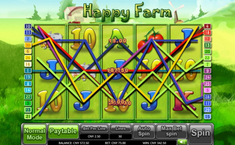Happy Farm :: Multiple winning combinations leads to a big win