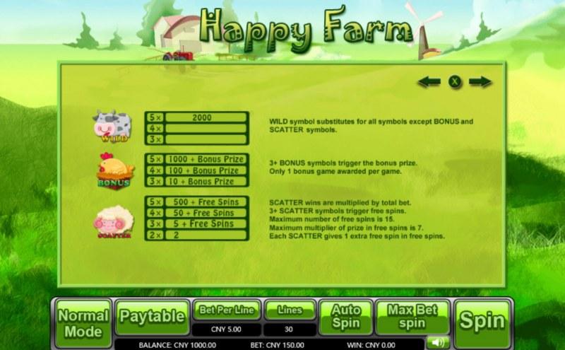 Happy Farm :: Bonus, Scatter and Wild Rules