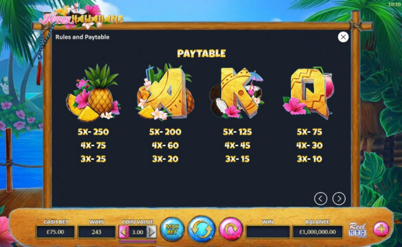 Happy Hawaiians :: Paytable - Medium Value Symbols