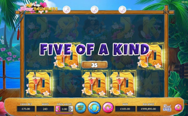 Happy Hawaiians :: A five of a kind win