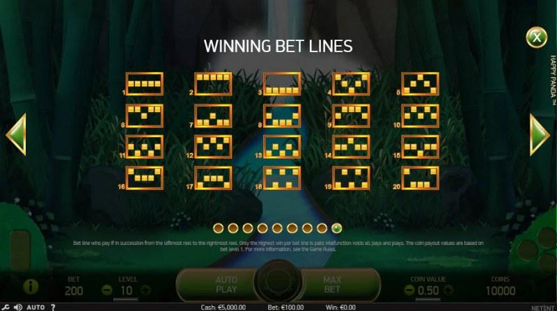 Happy Panda :: Winning Bet Lines 1-20