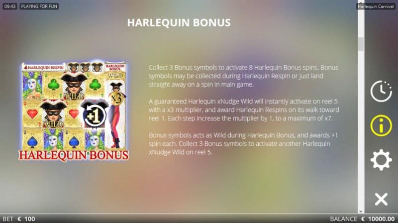 Harlequin Carnival :: Bonus Game Rules