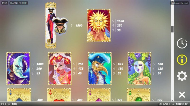 Harlequin Carnival :: Paytable