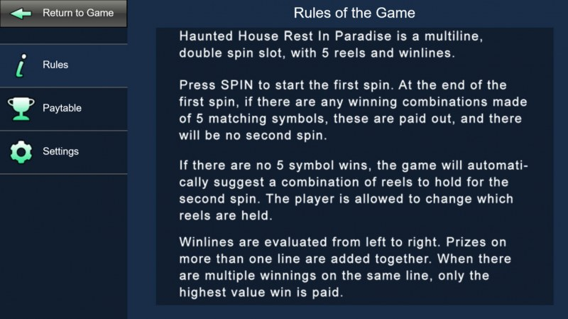 Haunted House Rest In Paradise :: General Game Rules