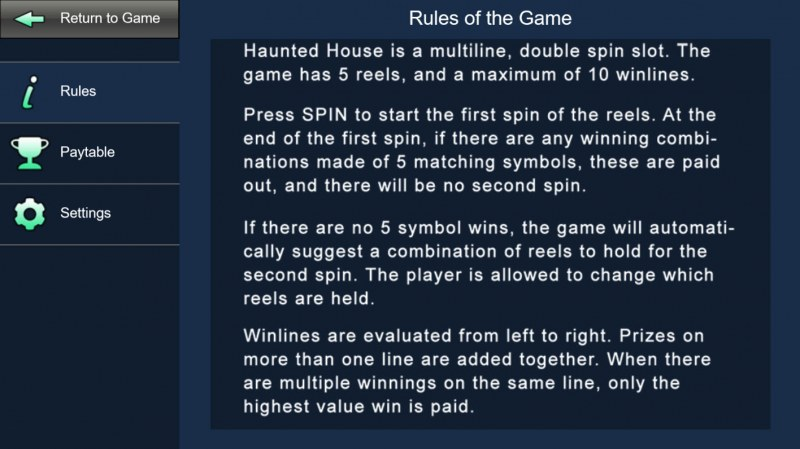 Haunted House :: General Game Rules