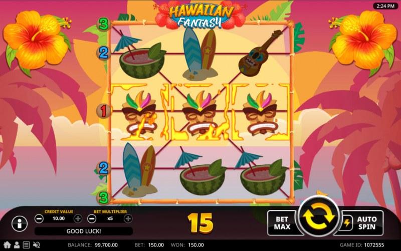 Hawaiian Fantasy :: A three of a kind win