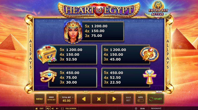 Heart of Egypt :: Paytable - High Value Symbols