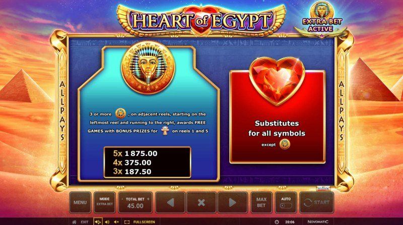 Heart of Egypt :: Wild and Scatter Rules