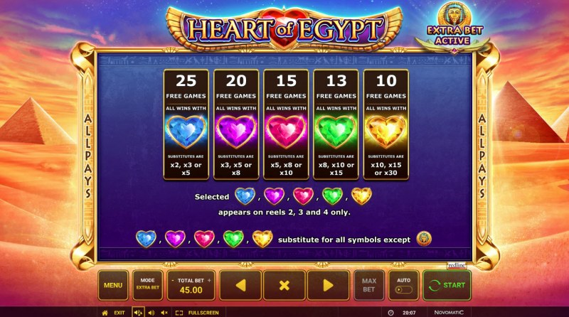Heart of Egypt :: Free Spins Rules