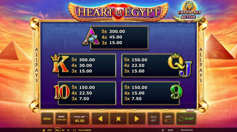 Heart of Egypt :: Paytable - Low Value Symbols